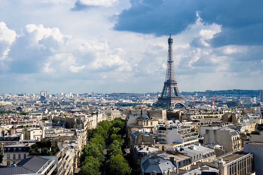 View of the Eiffel Tower from the roof of the Arc de Triomphe. Paris, France.