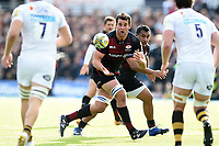 Calum Clark of Saracens receives the ball. Aviva Premiership match, between Saracens and Wasps on October 8, 2017 at Allianz Park in London, England. Photo by: Patrick Khachfe / JMP