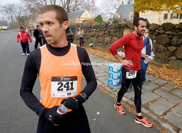 MIDDLEBURY CT. 09 November 2013-110913SV09-From left, Kyle Morse of Waterbury finished 1st and Muhamet Ajazi of Morris finished 2nd in the sixth annual Pilgrim's Pace 5K, sponsored by the Middlebury Congregational Church, in Middlebury Saturday. <br /> Steven Valenti Republican-American