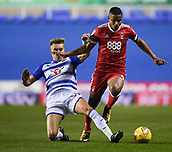 31st October 2017, Madejski Stadium, Reading, England; EFL Championship football, Reading versus Nottingham Forest; Sam Smith of Reading tackles Michael Mancienne of Nottingham Forest