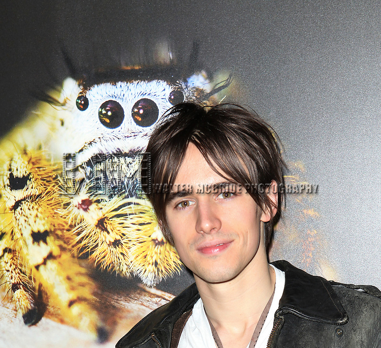 Reeve Carney  from Broadway's 'Spider-Man Turn Off The Dark'  visit with Norman Platnik curator of  'Spiders Alive!' at the American Museum of Natural History in New York City on 9/18/2012.
