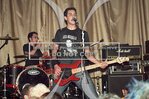 Gabe Saporta (bass/vocals now with Cobra Starship) of Midtown performs at Showplace Theatre in Buffalo, New York circa 2001.  Photo Copyright Mike Janes Photography