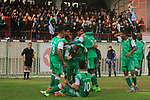 Palestinian Shabab Rafah club (blue T-shirt) players and Khadamat Rafah club (green T-shirt) players compete during a local competition, at Palestine Stadium, in Gaza City on January 16, 2019. The match ende 5-2 to Khadamat Rafah club. Photo by Mahmoud Ajjour