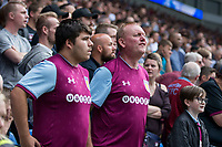 Aston Villa fans express their frustration during the Sky Bet Championship match between Cardiff City and Aston Villa at the Cardiff City Stadium, Cardiff, Wales on 12 August 2017. Photo by Mark  Hawkins / PRiME Media Images.