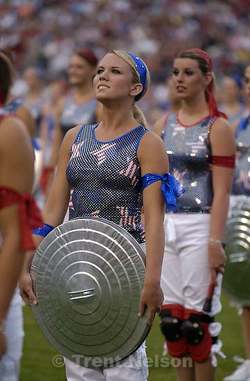 dancers with kneepads and garbage can lids. Stadium of Fire, Saturday night at LaVell Edwards Stadium, Provo.<br />