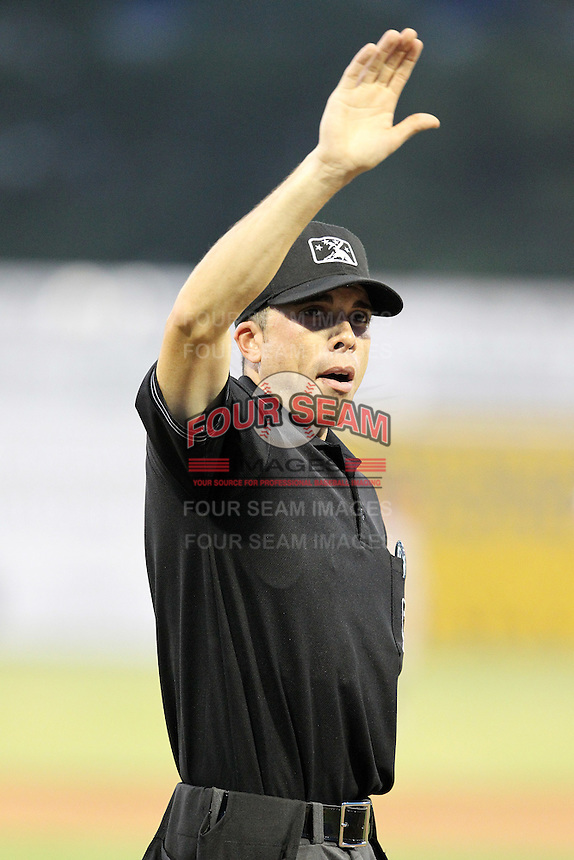 Umpire Mike Patterson during a game at Dwyer Stadium in Batavia, New York;  August 2, 2010.  Photo By Mike Janes/Four Seam Images