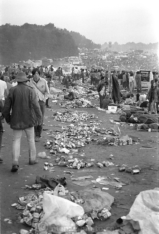 Woodstock Rock Festival fans at the edge of the littered field near the stage at the Woodstock rock festival at Max Yasgur's 600 acre farm, in the rural town of Bethel, NY, on the weekend of August 16-18, 1969..