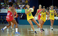02.08.2017 Australia's Madison Robinson in action during a netball match between Australia and England at the Brisbane Entertainment Centre in Brisbane Australia. Mandatory Photo Credit ©Michael Bradley.