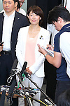 Newly-appointed Olympic minister Tamayo Marukawa speaks to media after meeting with New Tokyo Governor Yuriko Koike and Yoshiro Mori, head of the Tokyo 2020 Organising Committee in Tokyo, Japan on August 9, 2016. They agreed that they will work closely to deliver a successful Tokyo Olympics and Paralympics in 2020. (Photo by AFLO SPORT)
