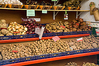Variety of potatoes and vegetables, Santa Cruz market, Canary Islands.