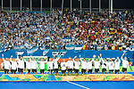 Argentina lined up for the Men's hockey medal ceremony at the Rio 2016 Olympics at the Olympic Hockey Centre in Rio de Janeiro, Brazil.
