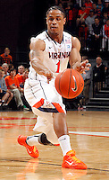 CHARLOTTESVILLE, VA- JANUARY 7: Jontel Evans #1 of the Virginia Cavaliers handles the ball during the game against the Miami Hurricanes on January 7, 2012 at the John Paul Jones Arena in Charlottesville, Virginia. Virginia defeated Miami 52-51. (Photo by Andrew Shurtleff/Getty Images) *** Local Caption *** Jontel Evans