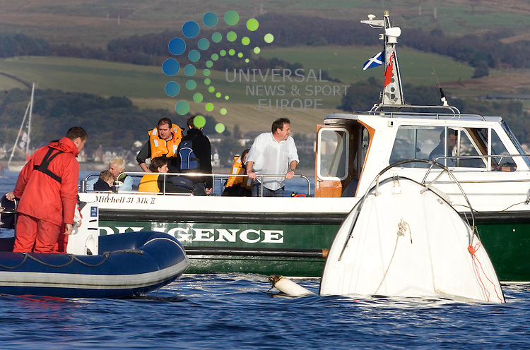 MURIEL GRAY AND FAMILY are rescued.A family of four ** BROADCASTER MURIEL GRAY AND FAMILY ** are rescued after their 25-foot boat sank as they watched the QE2 making its way up the Clyde to Greenock to dock during its very last trip to Scotland..5 October 2008. Picture: Maurice McDonald/ Universal News And Sport (Scotland)