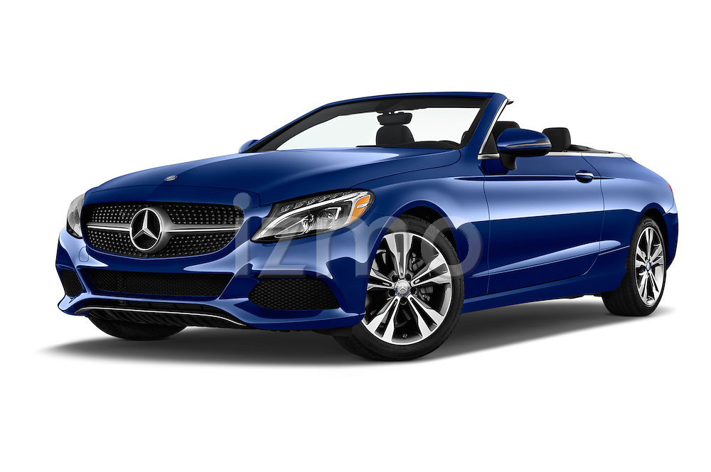 Stock pictures of low aggressive front three quarter view of 2017 Mercedes Benz C-Class C-300 2 Door Convertible Low Aggressive