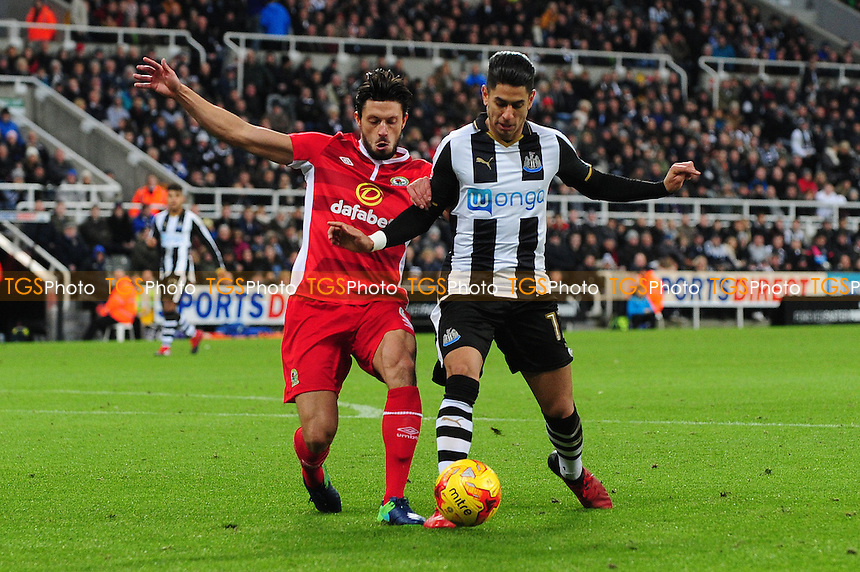 Ayoze Perez of Newcastle United battles with Jason Lowe of Blackburn Rovers during Newcastle United vs Blackburn Rovers, Sky Bet EFL Championship Football at St. James' Park on 26th November 2016