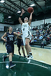23 February 2018:  Ashley Schneider passes Mikaela Eppard for a shot during an NCAA women's CCIW Semi-Final basketball game between the Elmhurst Bluejays and the Illinois Wesleyan Titans in Shirk Center, Bloomington IL