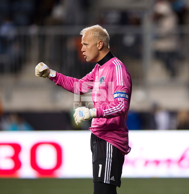 Jimmy Nielsen (1) of Sporting Kansas City celebrates the win after the game at PPL Park in Chester, PA.  Kansas City defeated Philadelphia, 3-1.