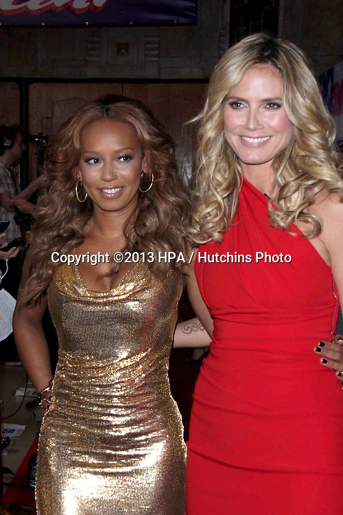"""LOS ANGELES - APR 24:  Mel B, aka Melanie Brown;   Heidi Klum arrives at the """"America's Got Talent"""" Los Angeles Auditions at the Pantages Theater on April 24, 2013 in Los Angeles, CA"""