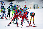 Athletes compete during the Nordic Combined Mass Start 10 km as part of the Winter Universiade Trentino 2013 on 16/12/2013 in Lago Di Tesero, Italy.<br /> <br /> &copy; Pierre Teyssot - www.pierreteyssot.com
