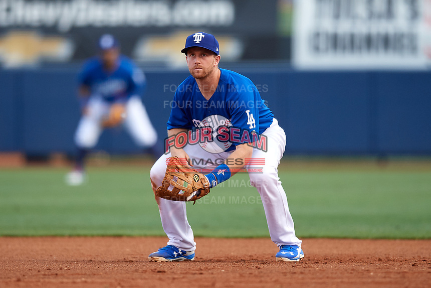 Tulsa Drillers first baseman Wynston Sawyer (6) during a game against the Corpus Christi Hooks on June 3, 2017 at ONEOK Field in Tulsa, Oklahoma.  Corpus Christi defeated Tulsa 5-3.  (Mike Janes/Four Seam Images)