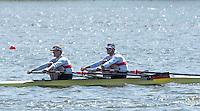 Brandenburg. GERMANY.<br /> GER M2X Bow <br /> Marcel HACKER and Stephan KRUEGER, 2016 European Rowing Championships at the Regattastrecke Beetzsee<br /> <br /> Saturday  07/05/2016<br /> <br /> [Mandatory Credit; Peter SPURRIER/Intersport-images]