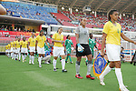 12 August 2008: Tania (BRA) (4) leads the Brazil team onto the field, pregame.  The women's Olympic team of Brazil defeated the women's Olympic soccer team of Nigeria 3-1 at Beijing Workers' Stadium in Beijing, China in a Group F round-robin match in the Women's Olympic Football competition.