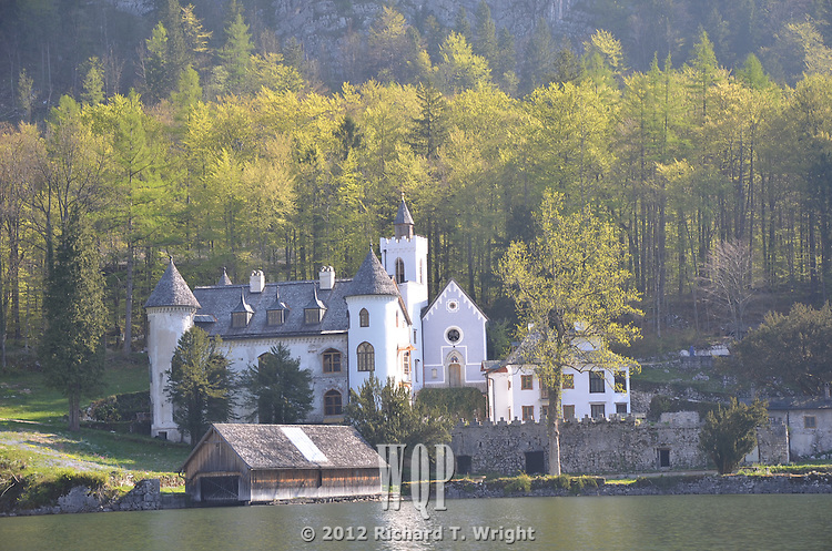 Hallstatt, Upper Austria is a village in the Salzkammergut region of the Alps. Castle Schloss Grub has recently been restored after being a Hitler Youth camp during WW2.