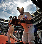 6 September 2009: The Cleveland Indians take the field to start a game against the Minnesota Twins at Progressive Field in Cleveland, Ohio. The Indians defeated the Twins 3-1 to take the rubber match of their three-game weekend series. Mandatory Credit: Ed Wolfstein Photo