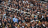 People attend a memorial for the victims of the Washington Navy Yard shooting at the Marine Barracks, September 22, 2013 in Washington, D.C.  United States President Barack Obama and first lady Michelle Obama also visited with families of the victims. <br /> Credit: Olivier Douliery / Pool via CNP