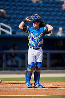 Biloxi Shuckers catcher Tyler Heineman (8) during a game against the Jacksonville Jumbo Shrimp on May 6, 2018 at MGM Park in Biloxi, Mississippi.  Biloxi defeated Jacksonville 6-5.  (Mike Janes/Four Seam Images)