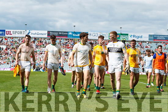 Kerry players leave the field after the game. All Ireland Junior Championship Semi-Final, Kerry V Leitrim. 22/07/2017. Gaelic Grounds, Limerick, Co Limerick. Credit: Conor Wyse