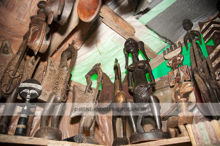Wood carvings are on sale in Abuja, the Nigerian capital.