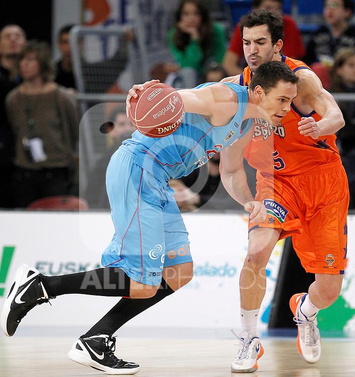 Valencia Basket Club's Pau Ribas (r) and Asefa Estudiantes' Kyle Kuric during Spanish Basketball King's Cup match.February 07,2013. (ALTERPHOTOS/Acero)