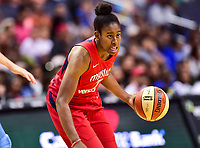 Washington, DC - July 13, 2018: Washington Mystics guard Ariel Atkins (7) handles the ball during game between the Washington Mystics and Chicago Sky at the Capital One Arena in Washington, DC. The Mystics defeat the Sky 88-72 (Photo by Phil Peters/Media Images International)