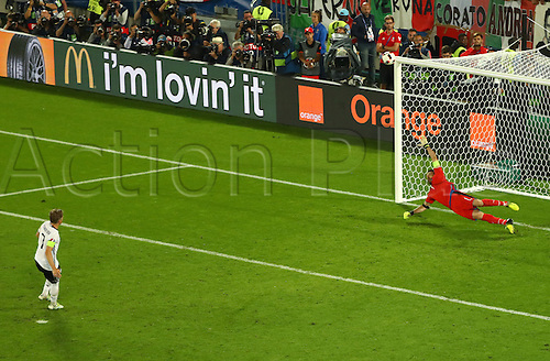 02.07.2016. Bordeaux, France.  Germany's Bastian Schweinsteiger misses a penalty during the penalty shoot-out during the UEFA EURO 2016 quarter final soccer match between Germany and Italy at the Stade de Bordeaux in Bordeaux, France, 02 July 2016.