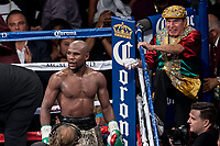 ***FILE PHOTO*** Rafael Garcia Cornerman to Floyd Mayweather Jr. Has Passed Away<br /> LAS VEGAS, NV - September 13:  Floyd Mayweather and cut man, Rafael Garcia pictured during a bout against  Marcos Maidana 2 at MGM Grand Garden Arena at MGM Grand Resort in Las Vegas, NV on September 13, 2014. Credit: RTNEK Photography/MediaPunch