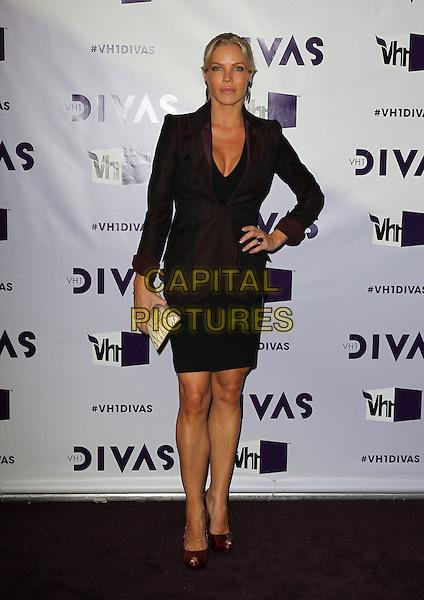 Jessica Canseco.VH1 Divas 2012 held at The Shrine Auditorium, Los Angeles, California, USA..December 16th, 2012.full length black dress maroon burgundy blazer hand on hip.CAP/ADM/KB.©Kevan Brooks/AdMedia/Capital Pictures.