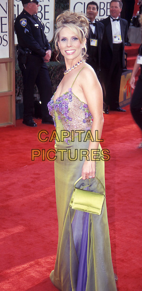 UNNAMED.Golden Globe Awards.long dress, green, purple, floral, flowery, spaghetti straps .Ref: ND.www.capitalpictures.com.sales@capitalpictures.com.© Capital Pictures