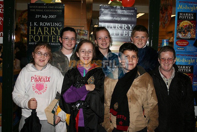 Jade Farrell, Rebecca Bourke, Sarah McKenna, Hannah Vaughey,  Mourad Mejdi, Aaron Farrell,  and Jean Fahey at the top of the Eason's queue for the new Harry Potter book...Photo NEWSFILE/Jenny Matthews.(Photo credit should read Jenny Matthews/NEWSFILE)....This Picture has been sent you under the condtions enclosed by:.Newsfile Ltd..The Studio,.Millmount Abbey,.Drogheda,.Co Meath..Ireland..Tel: +353(0)41-9871240.Fax: +353(0)41-9871260.GSM: +353(0)86-2500958.email: pictures@newsfile.ie.www.newsfile.ie.FTP: 193.120.102.198.