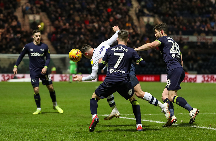 Preston North End's Alan Browne competing with Derby County's David Nugent and Harry Wilson<br /> <br /> Photographer Andrew Kearns/CameraSport<br /> <br /> The EFL Sky Bet Championship - Preston North End v Derby County - Friday 1st February 2019 - Deepdale Stadium - Preston<br /> <br /> World Copyright © 2019 CameraSport. All rights reserved. 43 Linden Ave. Countesthorpe. Leicester. England. LE8 5PG - Tel: +44 (0) 116 277 4147 - admin@camerasport.com - www.camerasport.com