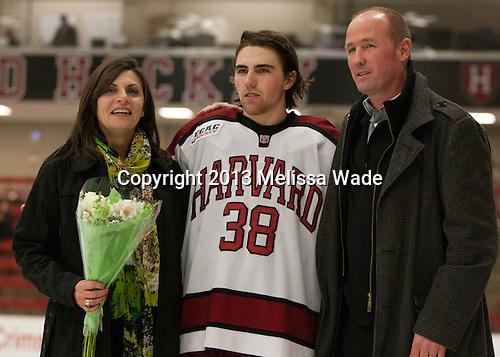 Loretta Morrison, Conor Morrison (Harvard - 38), Dave Morrison - The Class of 2013 was celebrated following the final Harvard Crimson home game of the season on Saturday, March 2, 2013, at Bright Hockey Center in Cambridge, Massachusetts.