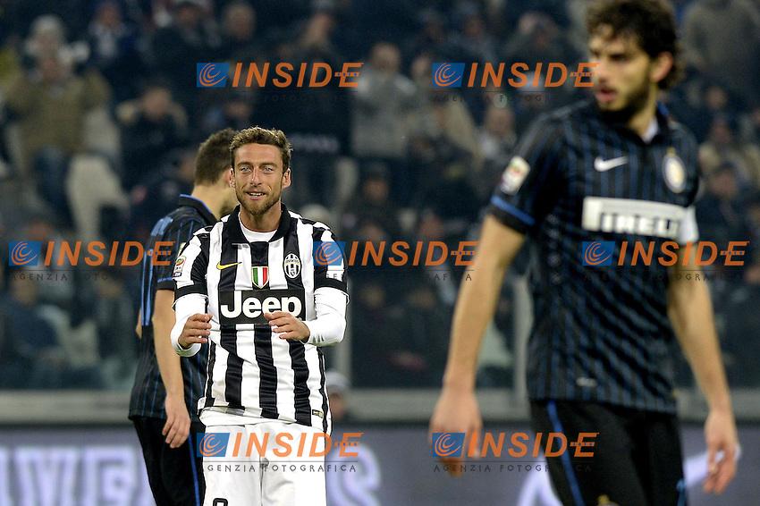 Claudio Marchisio Juventus, in primo piano Andrea Ranocchia Inter,<br /> Torino 06-01-2015, Juventus Stadium, Football Calcio 2014/2015 Serie A, Juventus - Inter, Foto Filippo Alfero/Insidefoto