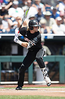 Louisville Cardinals outfielder Lucas Dunn (7) at bat during Game 3 of the NCAA College World Series against the Vanderbilt Commodores on June 16, 2019 at TD Ameritrade Park in Omaha, Nebraska. Vanderbilt defeated Louisville 3-1. (Andrew Woolley/Four Seam Images)
