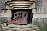 Intact 152mm German gun in a concrete bunker, Longues-sur-Mer, Normandy, France.