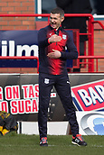 17th March 2019, Dens Park, Dundee, Scotland; Ladbrokes Premiership football, Dundee versus Celtic; Dundee manager Jim McIntyre gets animated