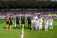 SWANSEA, WALES - APRIL 04: Mascots  prior to the Premier League match between Swansea City and Hull City at Liberty Stadium on April 04, 2015 in Swansea, Wales.  (photo by Athena Pictures)