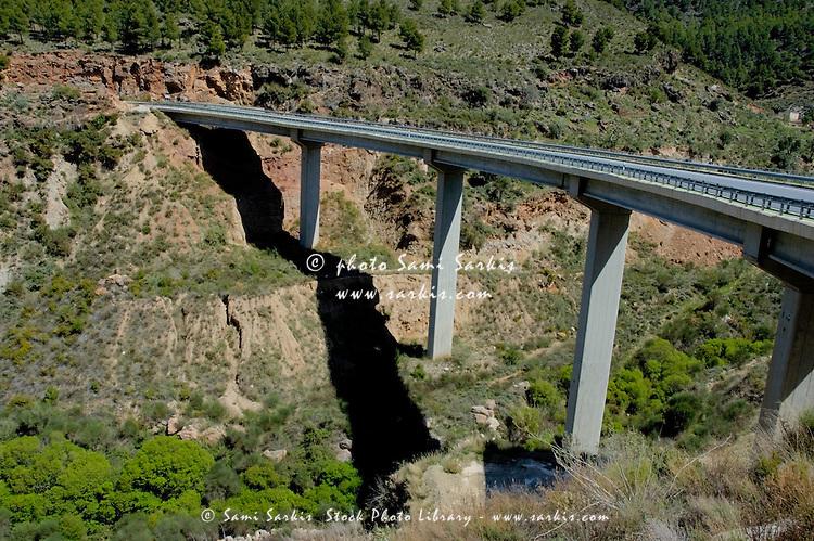 High bridge between Granada and the Alpujarras mountains, Andalusia, Spain.