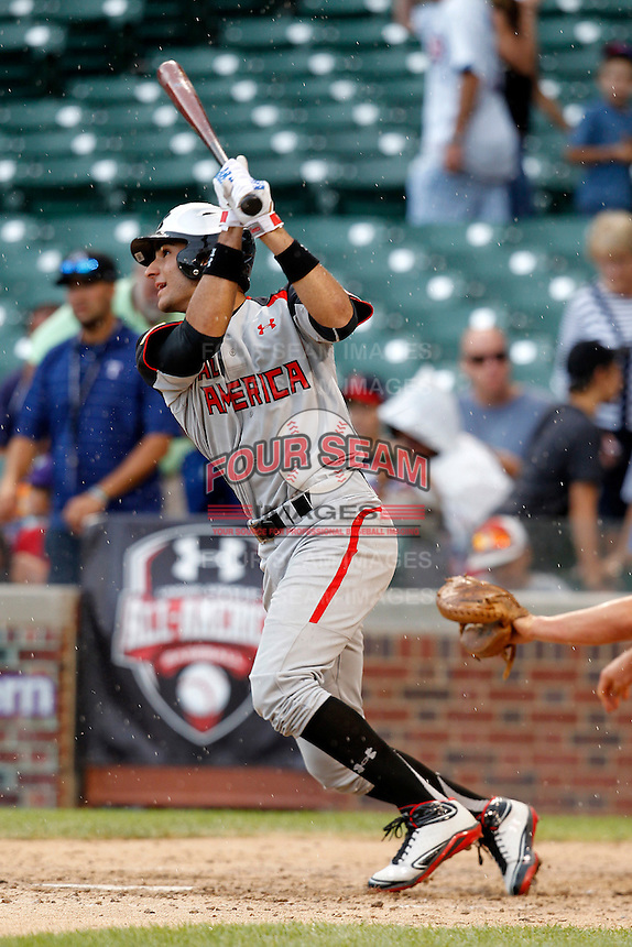 Third baseman Nick Basto #13 of Archbishop McCarthy High School in Southwest Ranches, Florida during the Under Armour All-American Game at Wrigley Field on August 13, 2011 in Chicago, Illinois.  (Mike Janes/Four Seam Images)