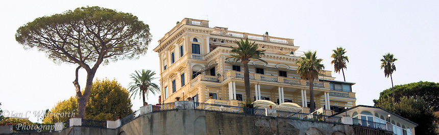View from the Sorrento harbour looking up the approximately 100 foot straight rise to a landmark building