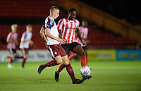 South Shieldsy U18's Jordan Patterson under pressure from Lincoln City U18's Jordan Adebayo-Smith<br /> <br /> Photographer Chris Vaughan/CameraSport<br /> <br /> The FA Youth Cup Second Round - Lincoln City U18 v South Shields U18 - Tuesday 13th November 2018 - Sincil Bank - Lincoln<br />  <br /> World Copyright © 2018 CameraSport. All rights reserved. 43 Linden Ave. Countesthorpe. Leicester. England. LE8 5PG - Tel: +44 (0) 116 277 4147 - admin@camerasport.com - www.camerasport.com